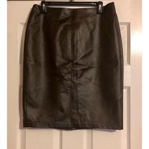 NY & Co Chocolate Faux Leather Pencil Skirt